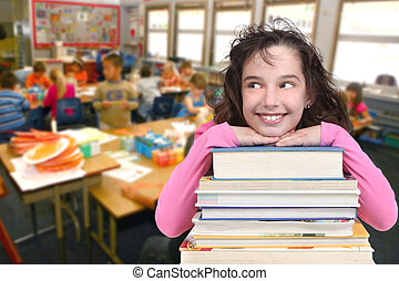 School Age Child Looking Up at Copy Space for your Text - ...