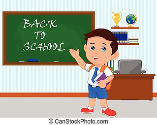 happy school boy with green chalkboard