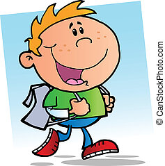 Happy School Boy.Vector illustration