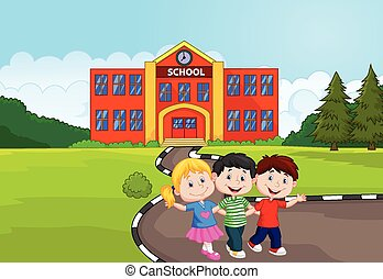Happy school children cartoon in fr