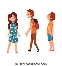 Happy school children, two boys and girl, vector Illustration