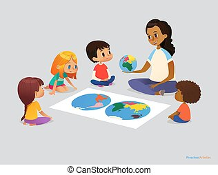 Happy school kids and teacher sit in circle around atlas and discuss geographical questions during lesson. Preschool activities concept. Vector illustration for poster, advertisement, website, banner.