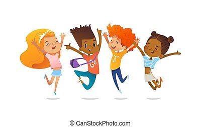 Happy school multiracial children joyfully jumping and laughing isolated on white background. Concept of happiness, gladness and fun. Vector illustration for banner, poster, website, invitation.