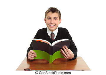 Happy school student with textbook