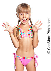Happy schoolboy - Little girl in swimsuit isolated on white...