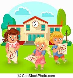 Happy schoolchildren with good grade poster