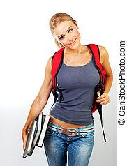 Happy schoolgirl holding books - Happy student, schoolgirl...