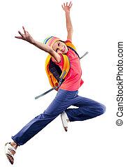 happy schoolgirl or traveler exercising, running and jumping