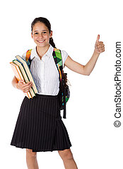 Happy schoolgirl standing with book and thumb up sign