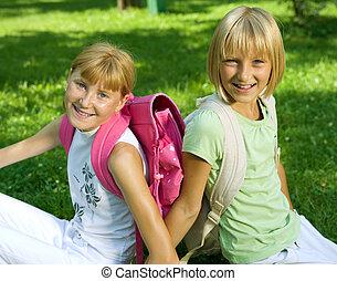 Happy Schoolgirls In The Park