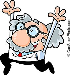 Happy Science Professor Cartoon Character Running With Open Arms
