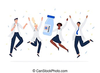 Happy scientists find a new vaccine. A Covid-19 Vaccine. Multicultural group of people jumping with raised hands in various poses. Concept vector flat style.