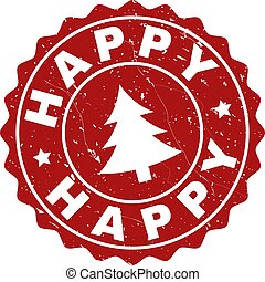 HAPPY Scratched Stamp Seal with Fir-Tree