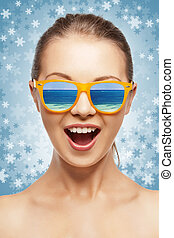 happy screaming teenage girl in shades - picture of happy...