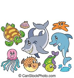 Happy sea animals collection - vector illustration.