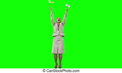 Happy secretary in slow motion throwing notes