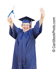 Happy Senior Adult Woman Graduate In Cap and Gown Holding Diploma Isolated on a White Background.