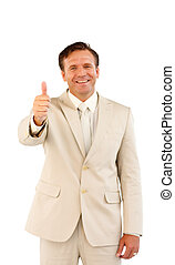 Happy senior business man showing a success sign