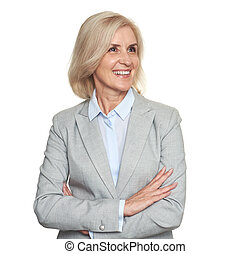 Happy senior business woman looking away. Isolated on white