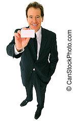 Happy Senior Businessman Caucasian Showing Business Card