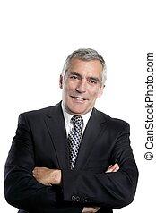 happy senior businessman smiling gray hair black suit white...