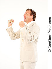 Happy senior businessman with arms up