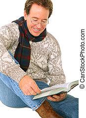 Happy Senior Caucasian Smile And Reading Book