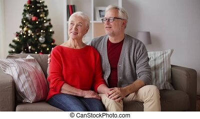happy senior couple at christmas home