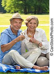 Happy senior couple drinking wine outdoors