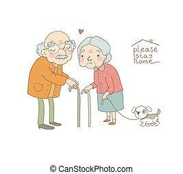 Happy senior couple. Grandmother and grandfather walk with a dog