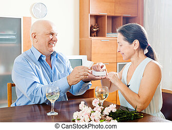 Happy senior couple having romantic date