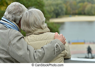 Senior couple  in park, back view
