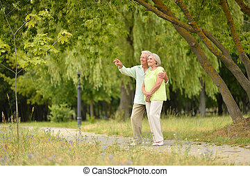 Happy senior couple in park  outdoors