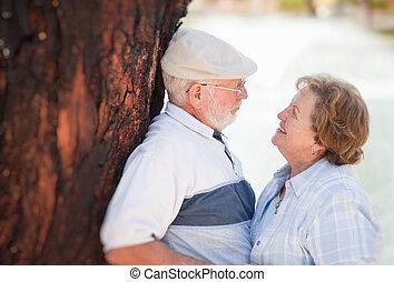 Happy Senior Couple in The Park