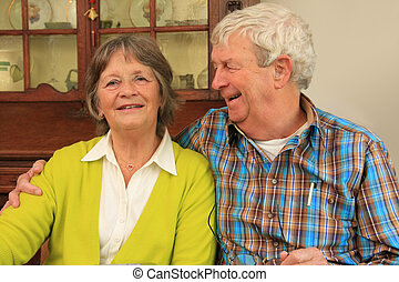 Happy senior couple - Happy smiling senior couple in their...