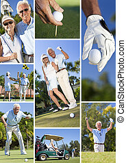 Happy Senior Couple Playing Golf Montage