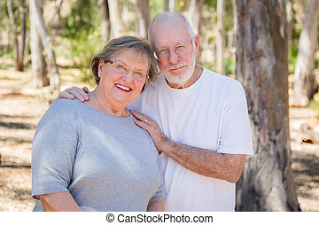 Happy Senior Couple Portrait Outdoors