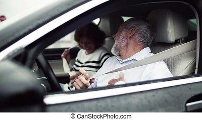 Happy senior couple sitting in car, fastening seatbelts. ...