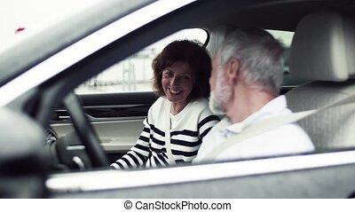 Happy senior couple sitting in car, talking.