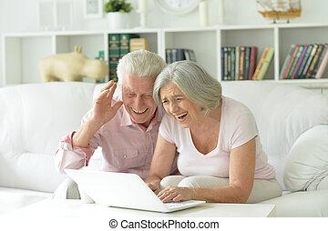 happy senior couple using laptop