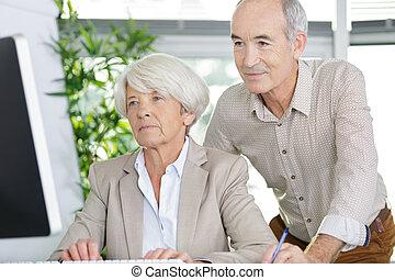 happy senior couple using pc