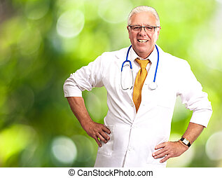Happy Senior Doctor With Stethoscope