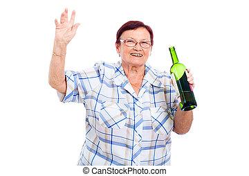 Happy senior drunk woman