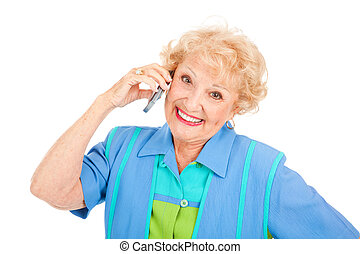 Happy Senior Lady on Cellphone