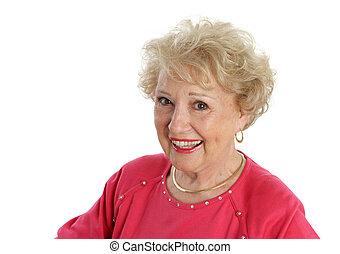 Happy Senior Lady - A sweet, beautiful senior lady smiling &...