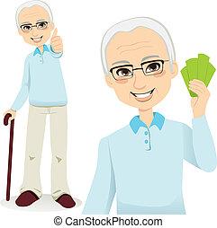 Happy Senior Man - Happy successful senior man holding money...