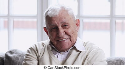 Happy senior man sit on sofa looking at camera, portrait - ...