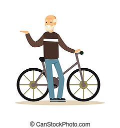Happy senior man walking with bike, healthy active lifestyle colorful character vector Illustration