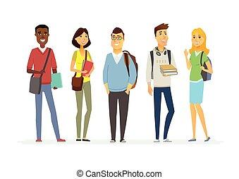 Happy senior school students - cartoon people characters...