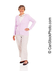happy senior woman full length portrait